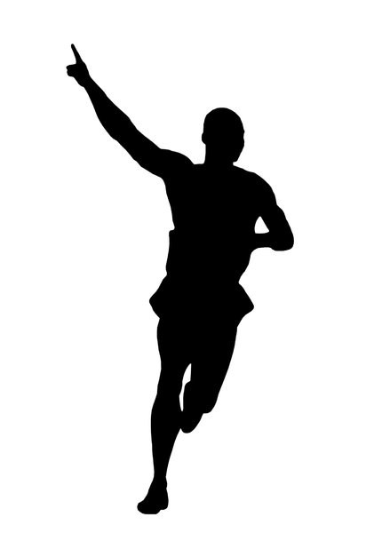 Winning - final of the run com: Silhouette of the runner