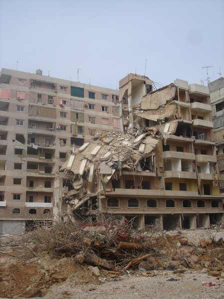 Pot luck: A bombed building in the suburbs of Beirut after Israel's summer war on Lebanon