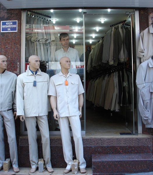 Beige again: I was leaving Istanbul. I saw this guy standing in his shop window, wearing the same clothes as the dummies and looking the same way and I snapped him. It's just one of those scenes that makes me smile.