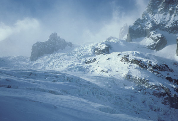 The Vallée Blanche: The Vallée Blanche, Mer de Glace, Chamonix, France. Photo taken some years ago with Contax T with Kodachrome positive film (dia), scanned with Nikon Super Coolscan 5000. My best skiing adventure ever! Also check photos 258199 and 670212!For those who lik