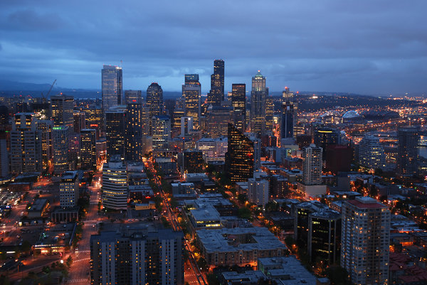 Seattle by night 1: Seattle downtown by night. Three perspectives/scales.