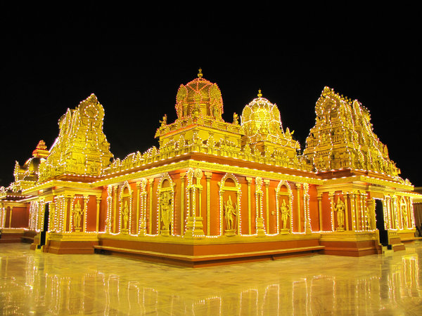 Decorated Temple: A South Indian temple, lit and decorated for a festive occasion