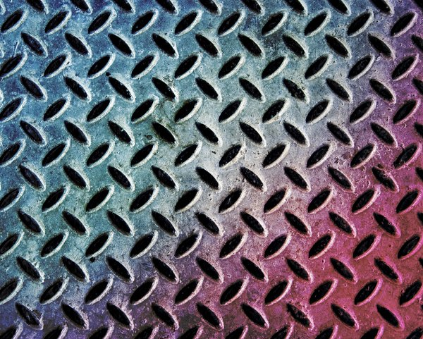 Grunge Metal Plate 2: Diamond textured metal plate with a colour twist.