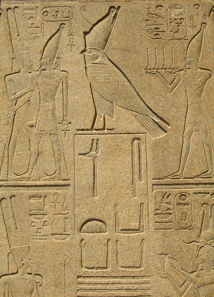 horus with double crown: Carvings on an obelisk at Karnak Temple,Luxor, Egypt