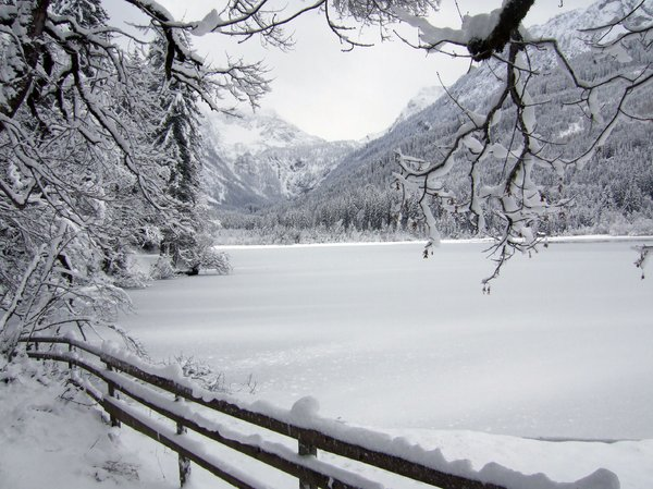 "icy lake: the ""hunters lake"" = jägersee in kleinarl austria"