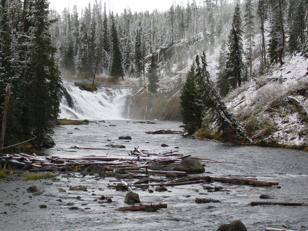 Winter river in Yellowstone Pa: winter? september in Yellowstone Lewis falls