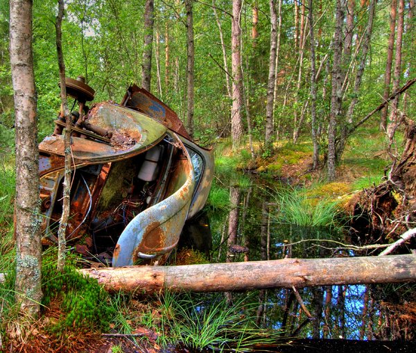 Disintegration - HDR: Cars that have benne laying in a forrest for 50 years. The picture is HDR derived from five individual shots.