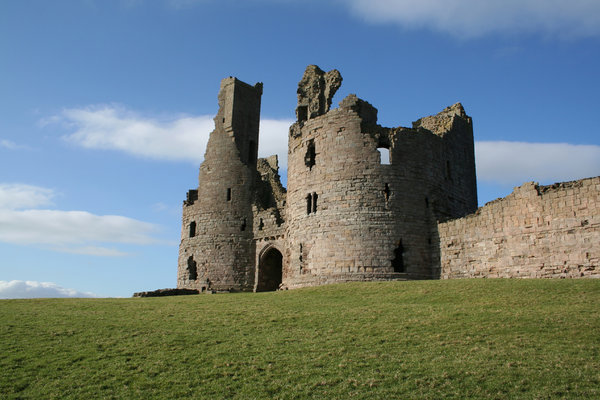 Dunstanburgh Castle 7: Massive ruined castle in an impressive coastal settingin northumberland, north east england.