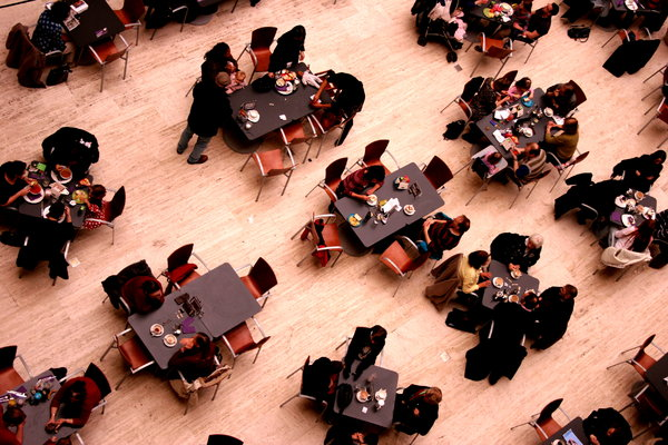 People from Above: Aerial view of people eating lunch