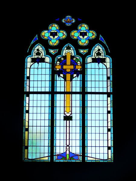 stained glass cross: Anglican church window