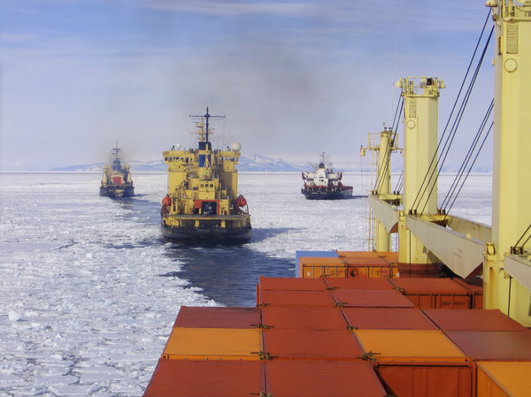 Convoy: Ships positioning to make approach through 70 miles of Antarctic ice to deliver supplies to McMurdo Station, while refueling tanker is finding a place to sit in the ice.