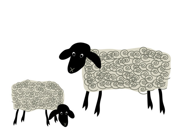 Grazing sheep.: Cute cartoon sheep grazing.