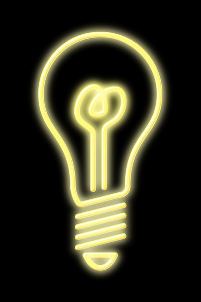 bulb: light bulb rendered in neon