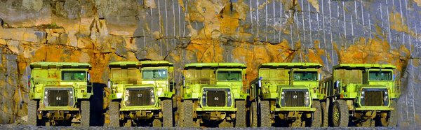 Mining Trucks Panaorama 2: Here are some mining trucks rested for the day.