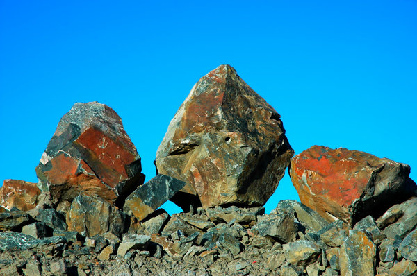 Rock Portait: There was some recent blasting in the area I was in and these boulders were standing at attention.