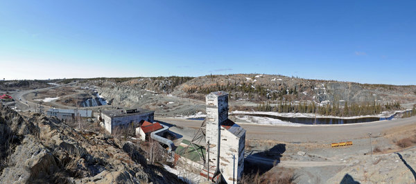 Old Giant Mine Headframe - Yel: Old Yellowknife Giant Mine Headframe and Panorama - Yellowknife, NWT, Canada