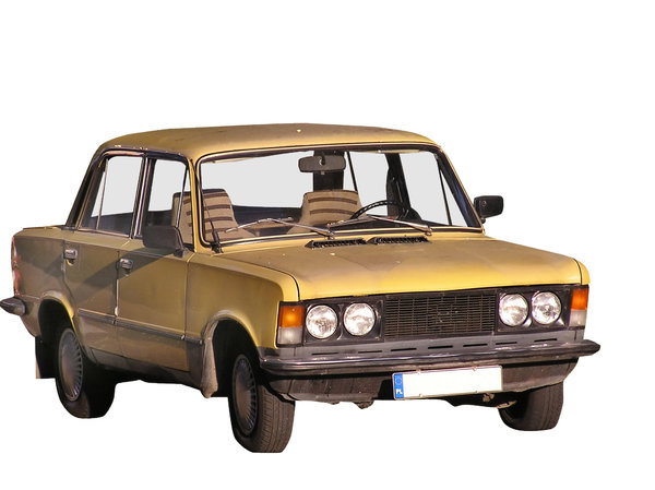 Orange car: Old Polish car. Communist legend.