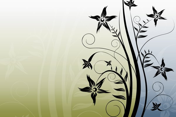 Summer Flower 1: Wallpaper with a black flower on two-color background