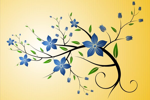 Blue Floral Sprig: Floral sprig on a yellow background
