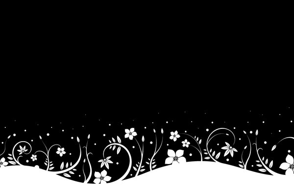Snowy Flowers 1: Background with white flowers and leafs stylized on the snow