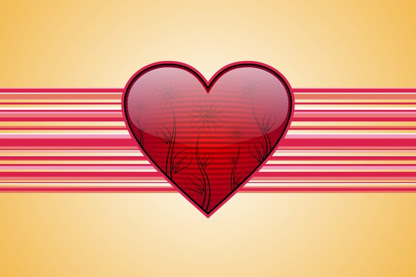 Valentines Background 1: Striped red heart with flowers on a yellow background