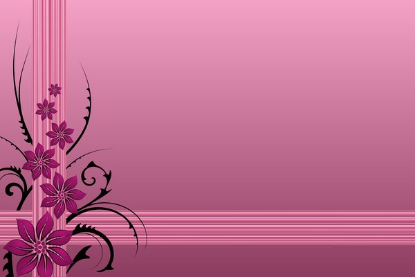 Pink Valentine's Background: Pink flowers and black branches on a pink background with stripes