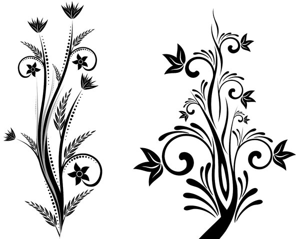 Isolated B&W Floral Set 4: Package of black and white isolated objects (florals), containing  flowers, trees, leaves, etc.
