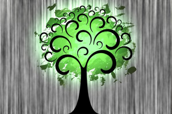 Fantasy Tree 1: Fantasy tree on a colored or gray background