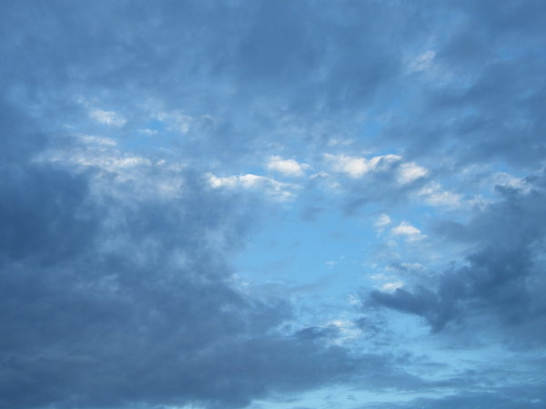 sky levels: blue autumn sky with several layers of clouds