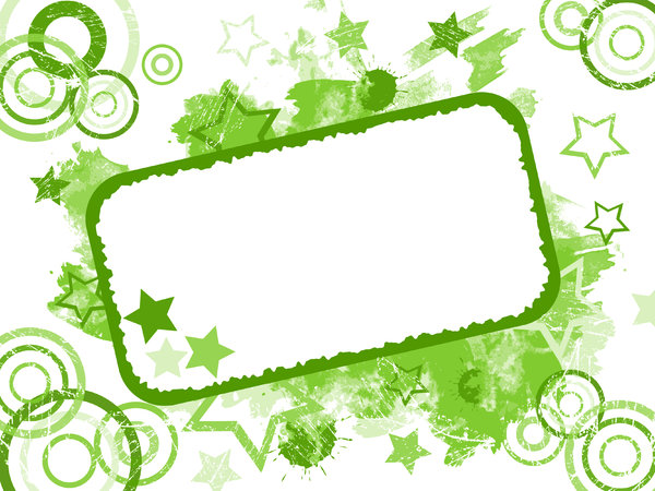 Grunge Card 3: Invitation card or label.  Grungy stars, circles, paint and splats background.  Green theme.  Lots of copy space,