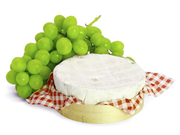 Grapes & Cheese: Green grapes and cheese, isolated on white background.