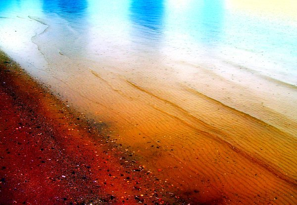 Abstract Colours - Shoreline: A sandy shore with natural colours enhanced.