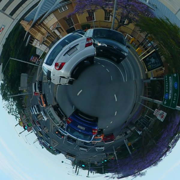 Small World: South Brisbane with polar distortion.