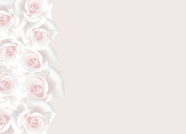 Floral Border 31: Floral border of pink and white roses on blank page. Lots of copyspace.