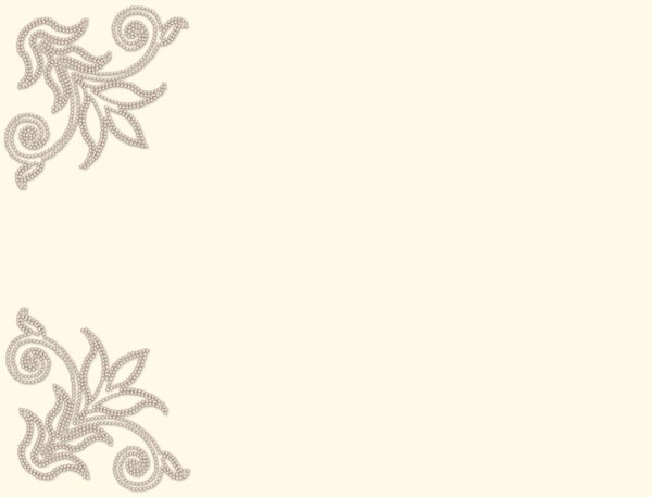 Pearl Corners 3: A light pearl border on a plain cream coloured background.