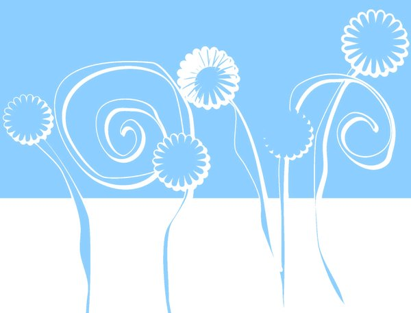 Floral Graphic 2: A graphic sketch of floral shapes in aqua and white. Makes a great design element.