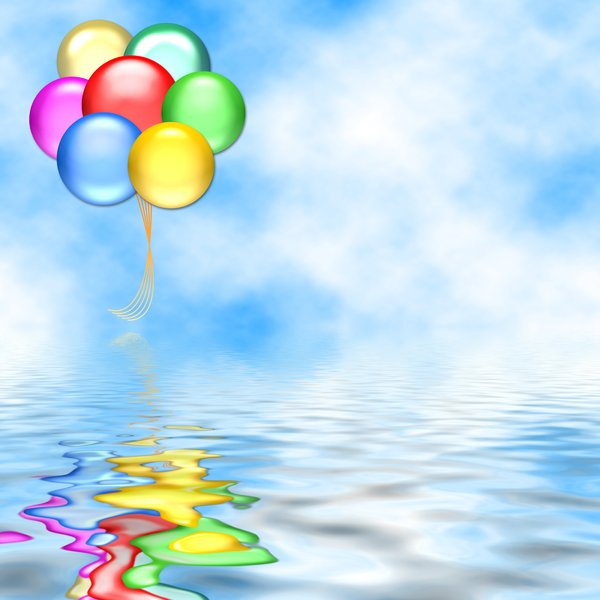 Balloons 7: Graphic of balloons on a background of sky, above water, with copyspace. Primary colours. Makes a great card or invitation. No commercial cards without my express permission.
