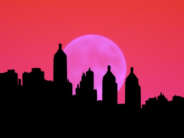 City Sillhouettes With Moon 2: Sillhouettes of buildings against a large moon.