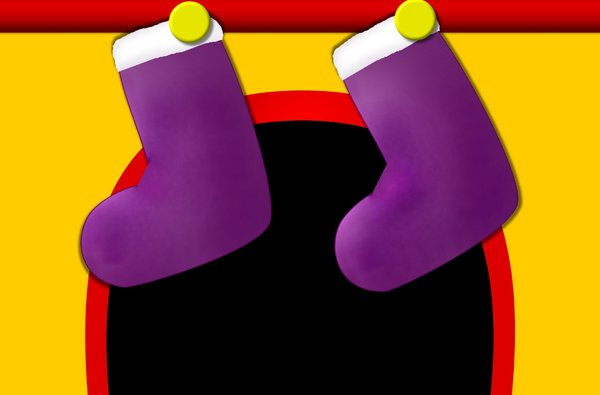 Christmas Stockings: Christmas stockings hanging on the mantlepiece. Suitable for a card or children's illustration, etc.