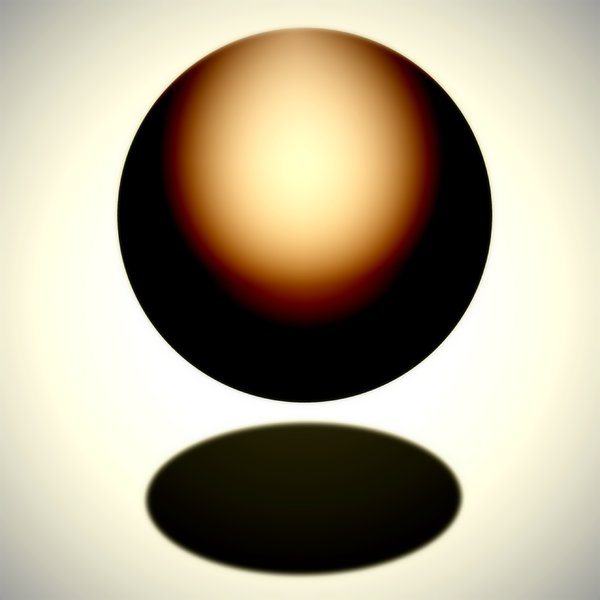 Copper Sphere: Floating copper coloured orb with shadow.