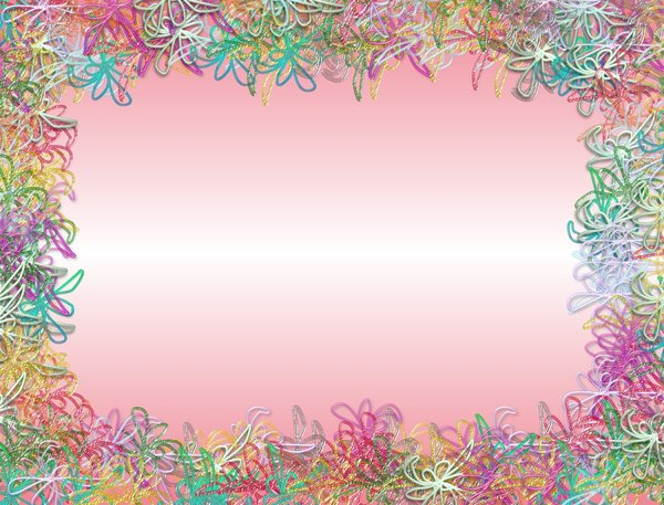 Scribbly Floral Border: Scribble flowers and shapes in a border. Would make nice invitations, cards, backgrounds, etc. Remember to read RGB's terms of use before using these images. No redistribution is allowed.