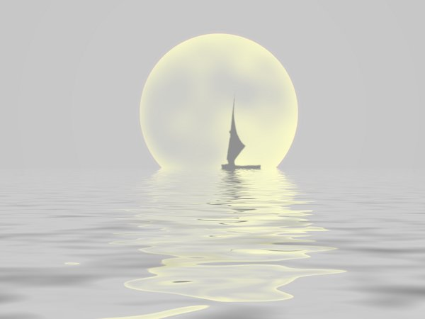Sailor Moon 3: Silhouette of a sailboat on water with a large moon in the background.