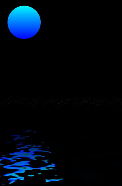Blue Moon: Blue moon, reflected in water. Plenty of copyspace.
