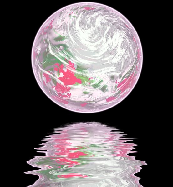 Pink Planet: Girly planet in pastel colours, with water reflection.