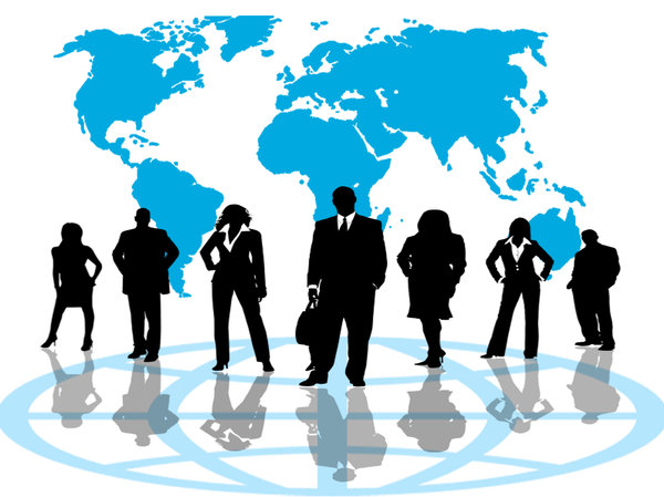 Business Network: Business team against a blue world map