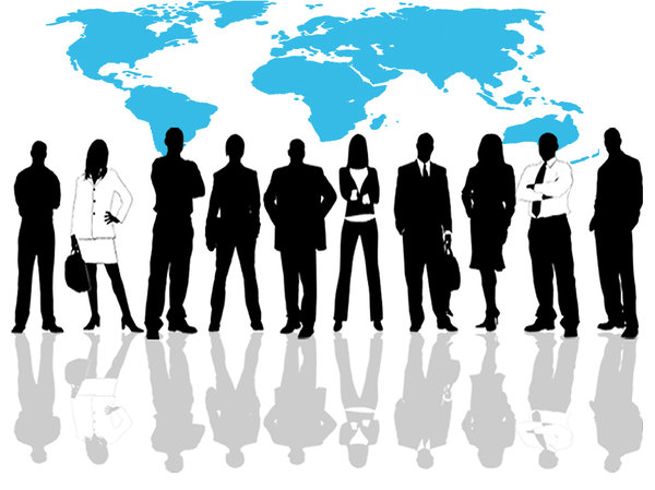 Business Group: Business group line-up against a world map