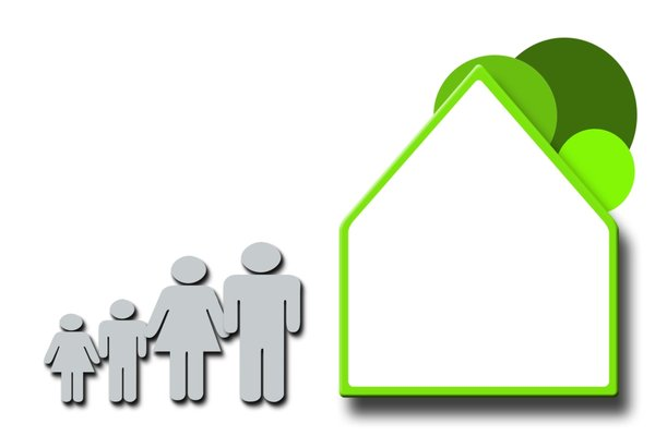 Green Family: Green family and house concept