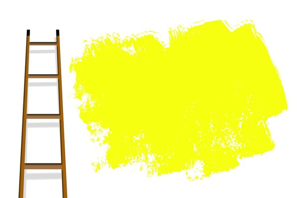 Decorating: Ladder against a wall with yellow paint marks