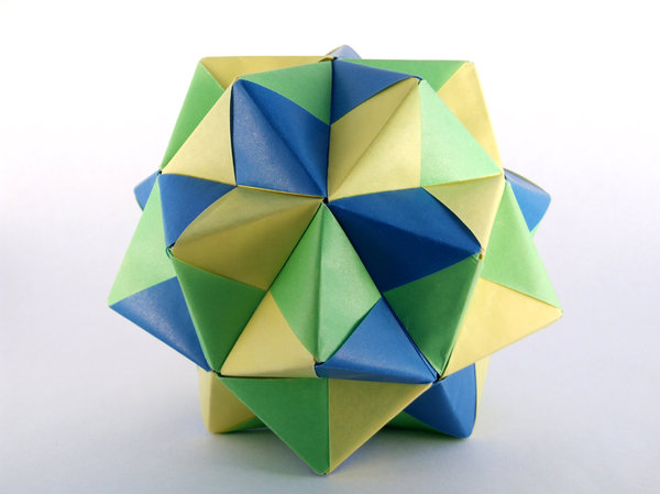 Icosahedron: An Icosahedron made with modular origami.