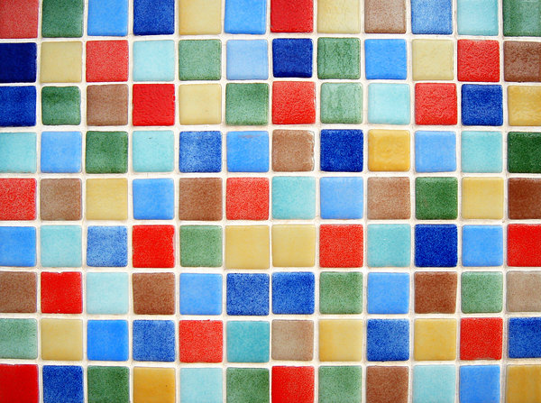 Colour tiles 2: Multicolour ceramic tiles texture. Playa de Gandia, Valencia